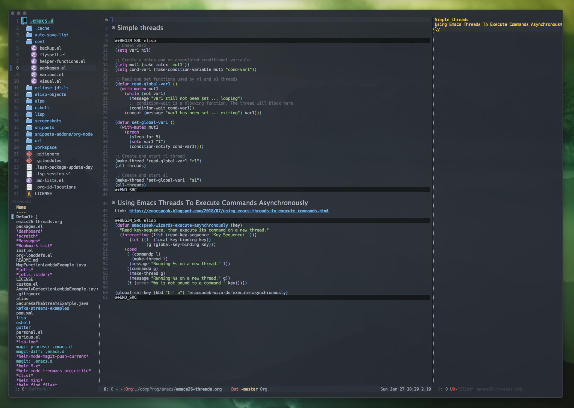 Emacs sidebars