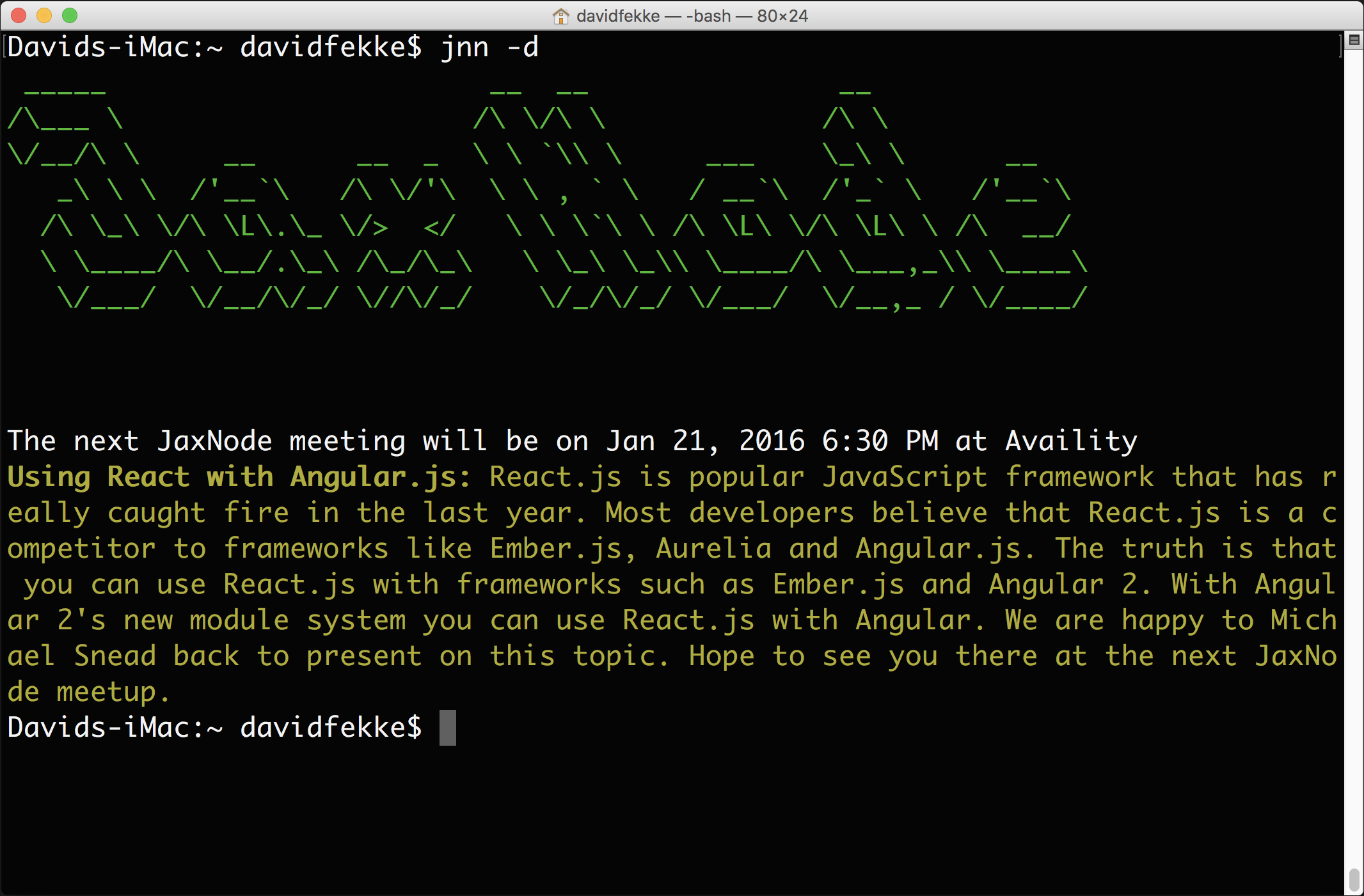 Screenshot of command line