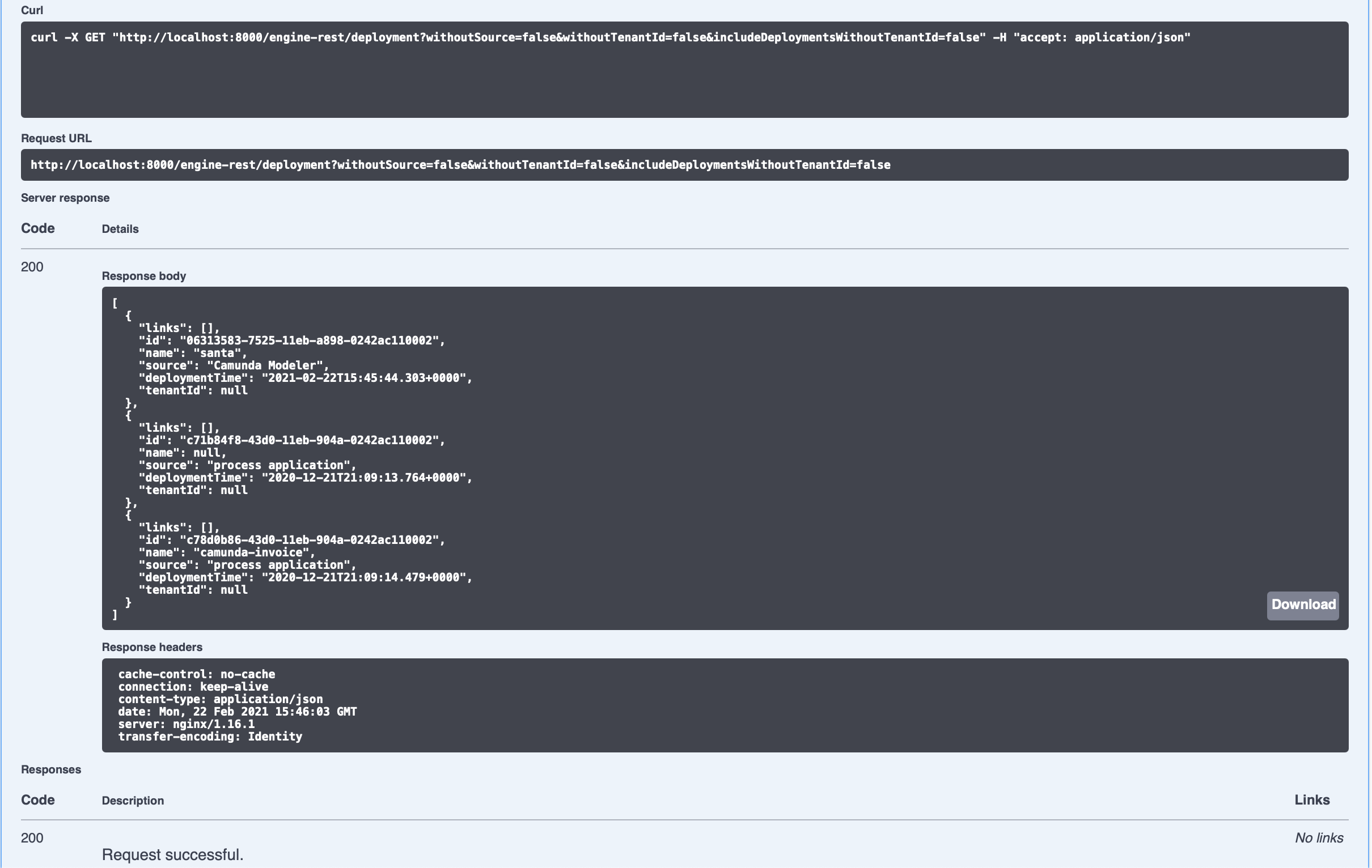 Results of a live API call