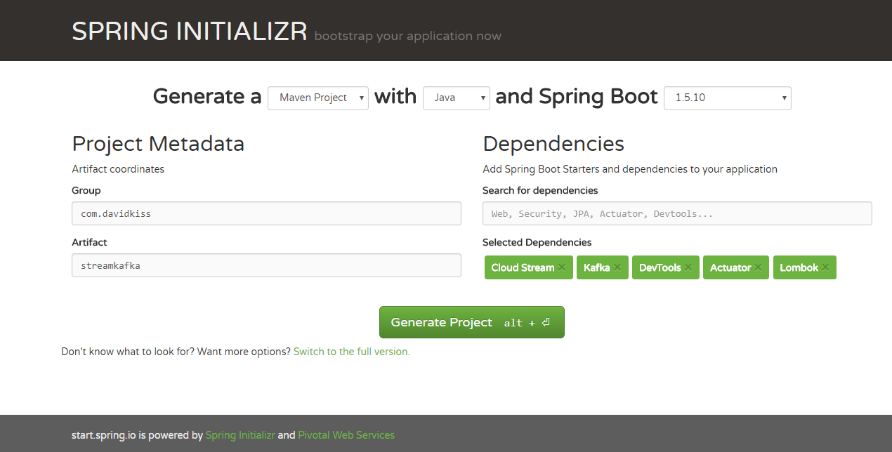 Spring Initializer for Spring Cloud Stream