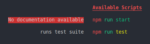 Example output when no documentation is available.
