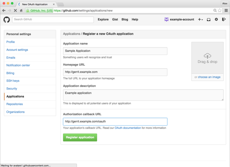 Register new application on GitHub