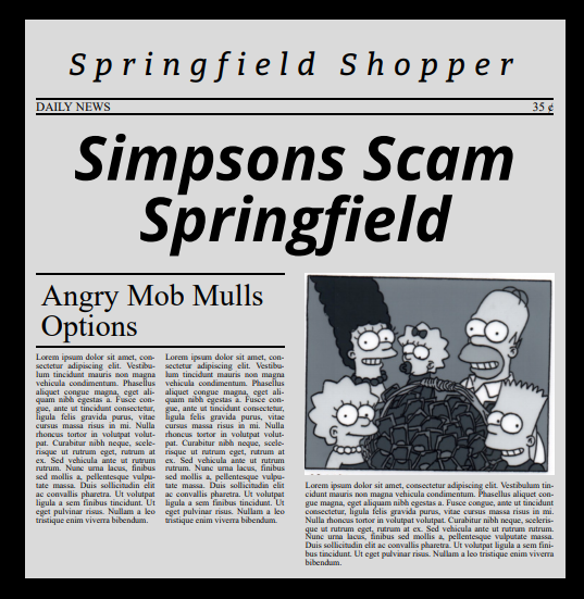 The simpsons newspaper