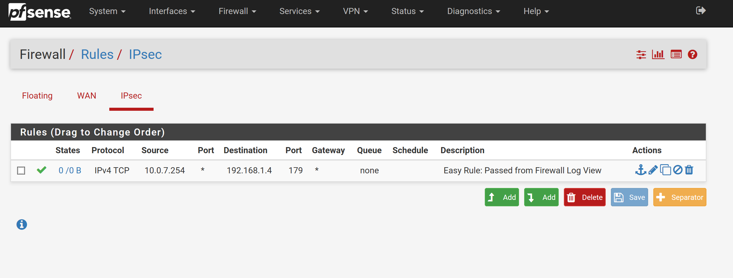 pfsense BGP rule added
