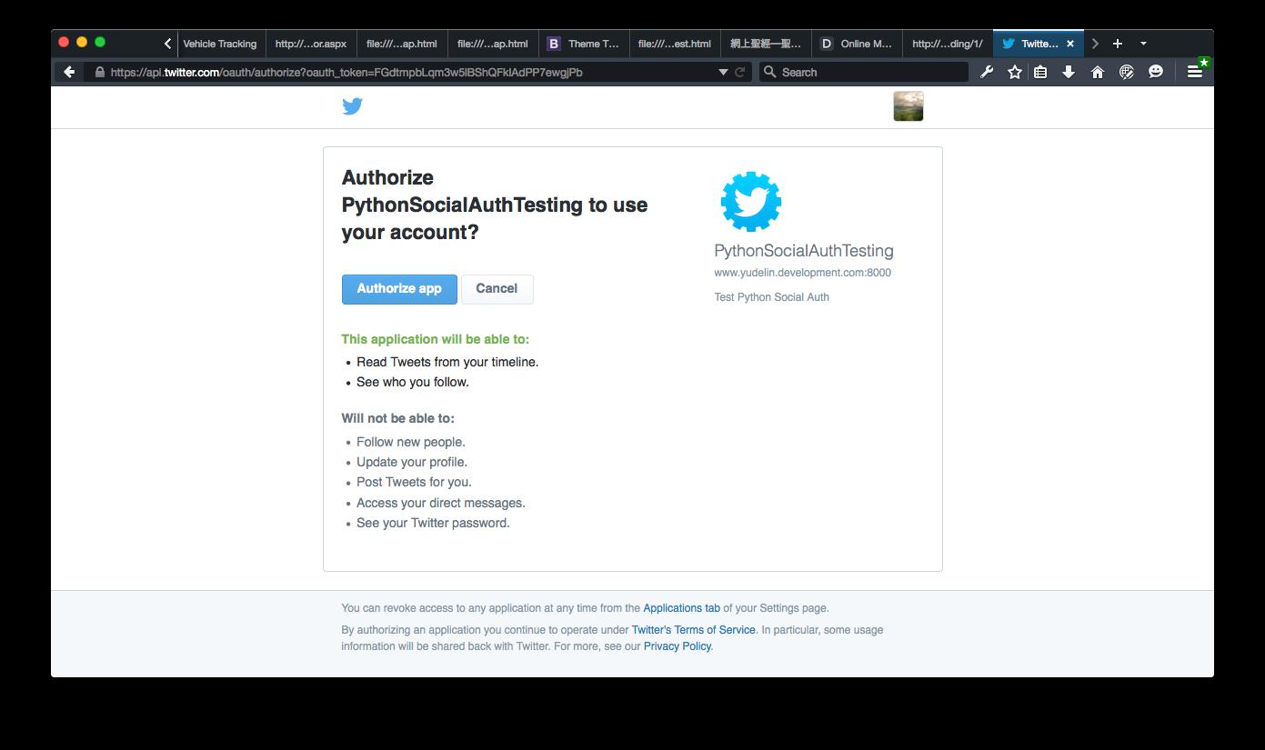 Twitter validation page