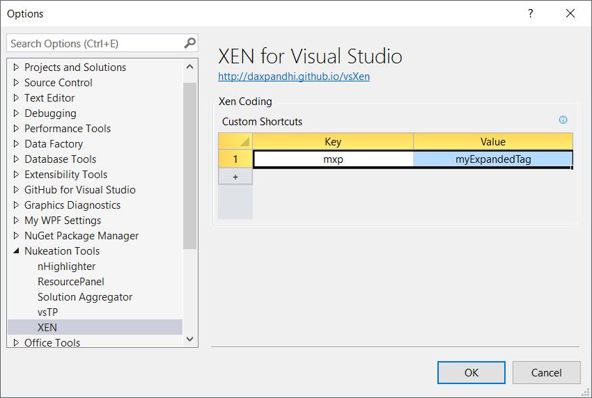 vsXEN Options in Visual Studio 2015