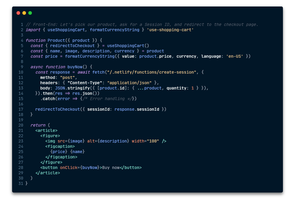 Front-End code example