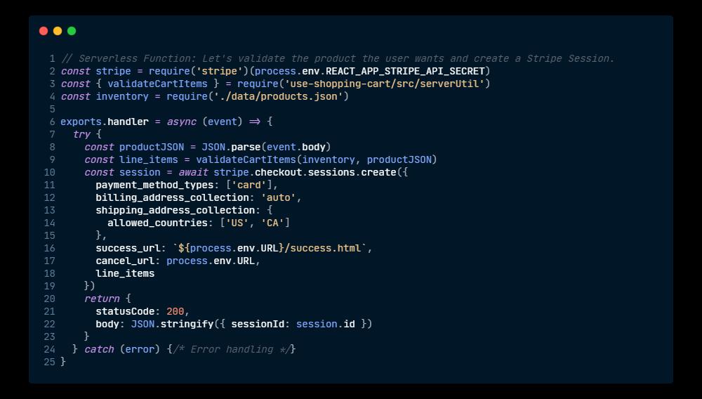 Serverless code example