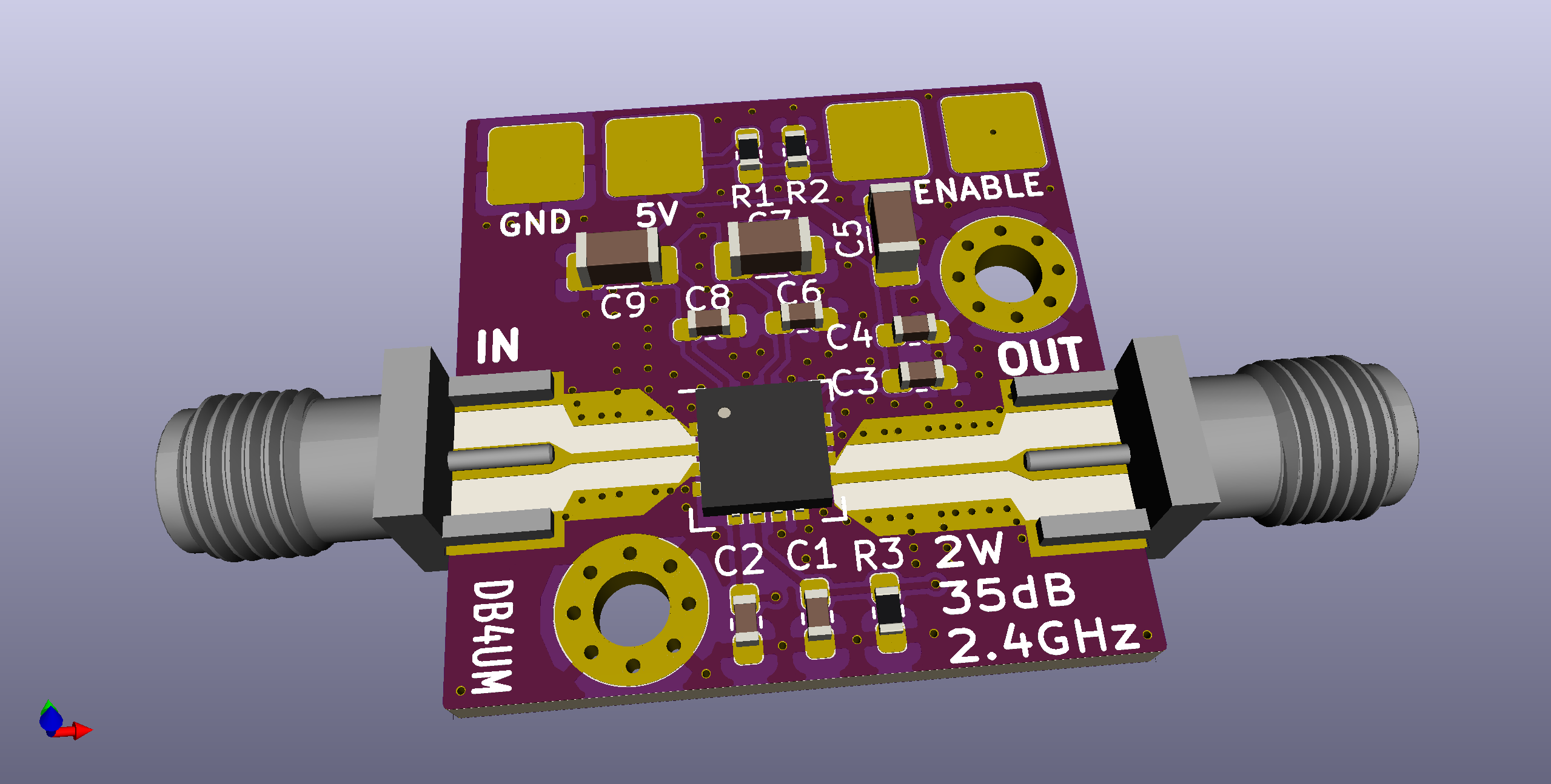 3D rendering of the PCB