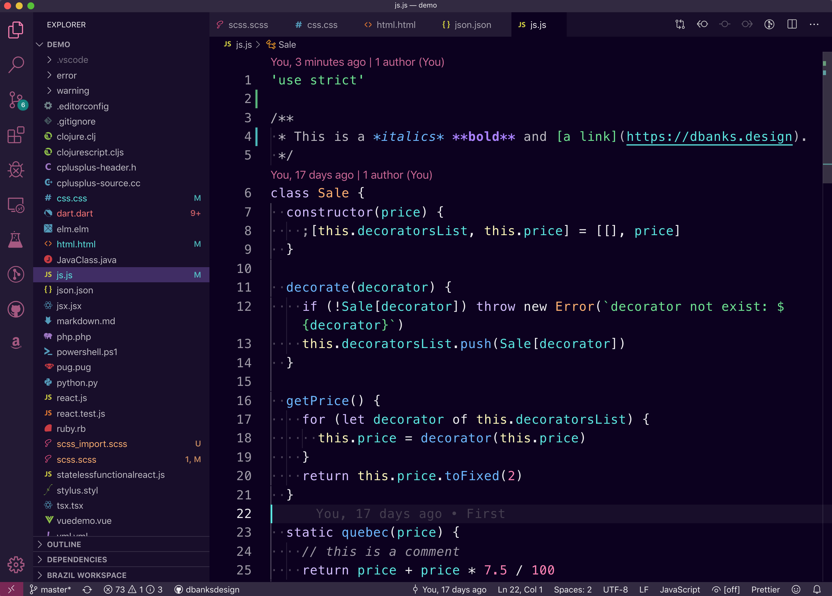 Javascript screenshot of Nu Disco Dark