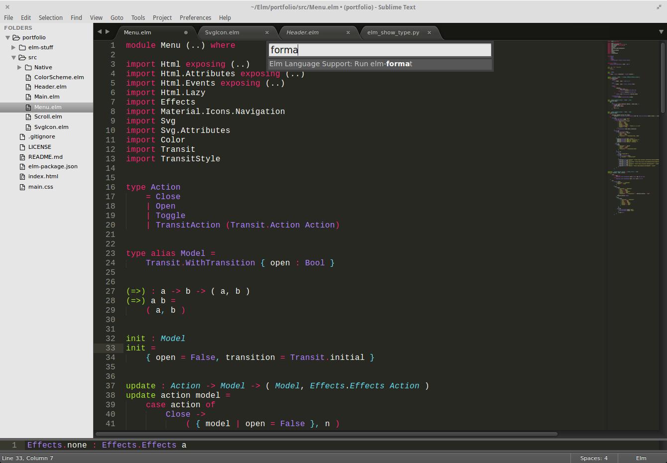 elm-format screenshot