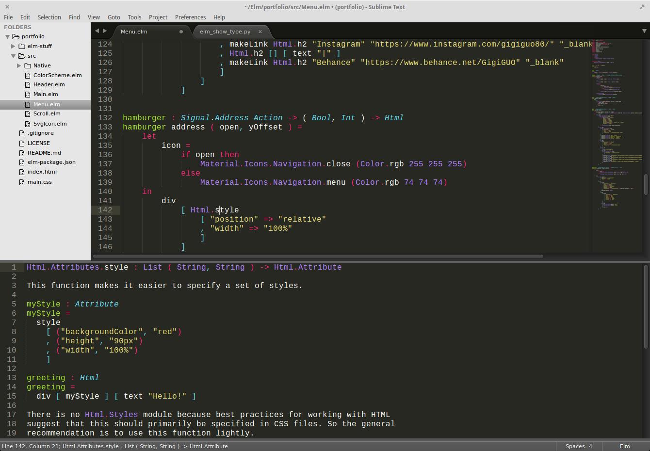 type panel screenshot