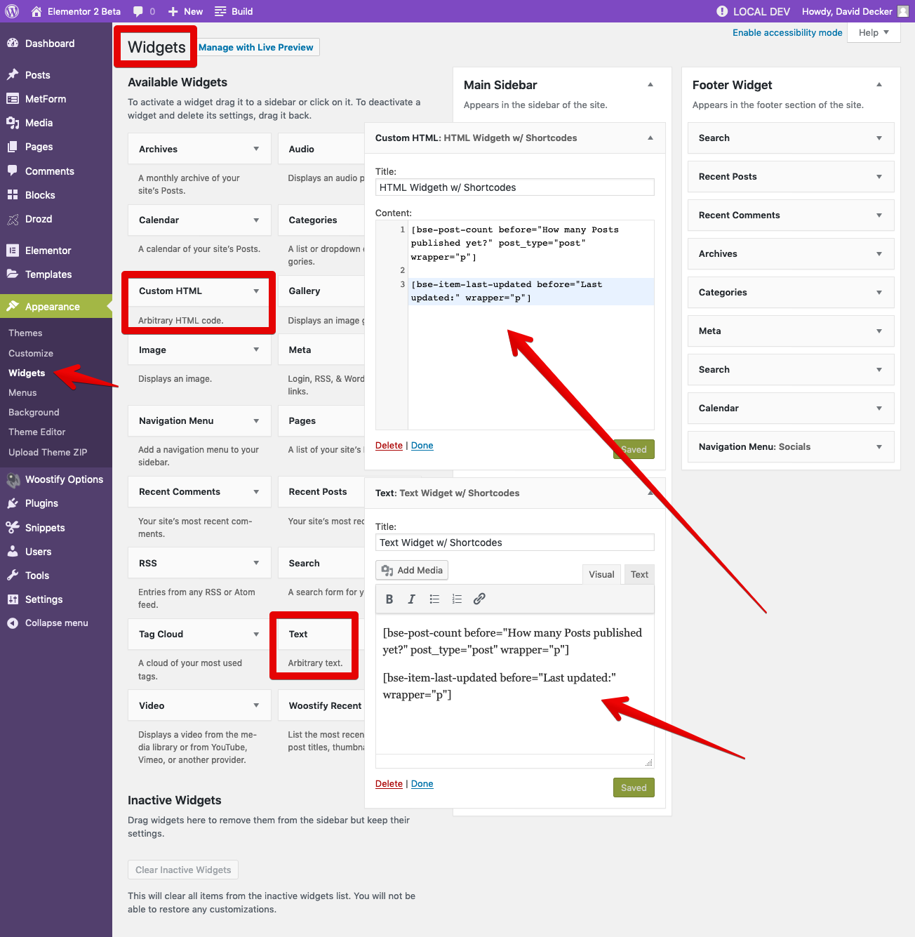 Insert a Shortcode into Text Widget or Custom HTML Widget