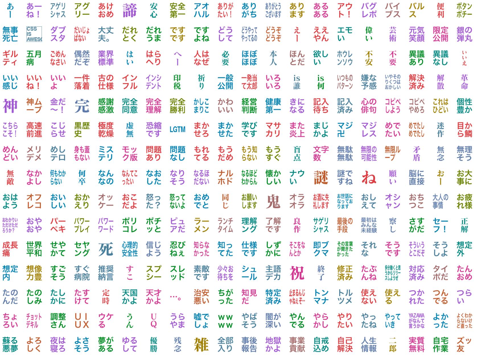 デコモジ v5 の基本セットの一覧画像