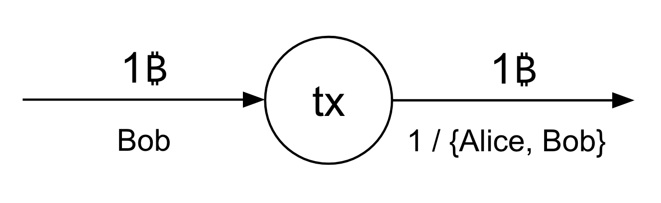 A 1-of-2 multisig transaction