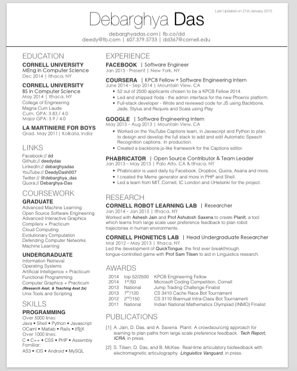 GitHub   Deedy/Deedy Resume: A One Page , Two Asymmetric Column ...