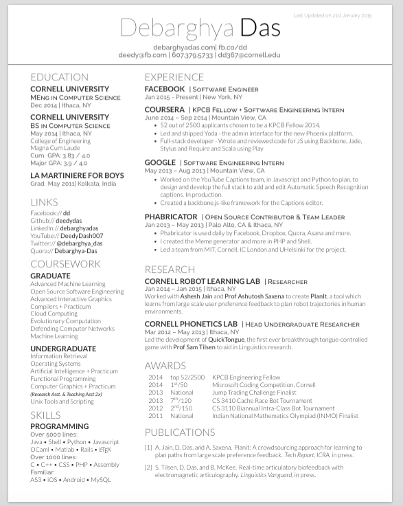 Elegant GitHub   Deedy/Deedy Resume: A One Page , Two Asymmetric Column ... Design