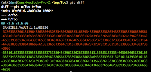 Encrypted git diff output