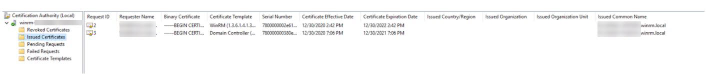 """""""Issued certificates"""""""