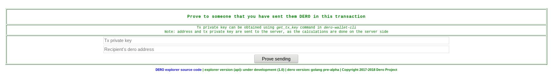 DERO Explorer Proving Transaction
