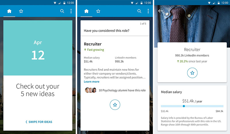 LinkedIn Students app help you to finding a job after graduation by giving you career advice