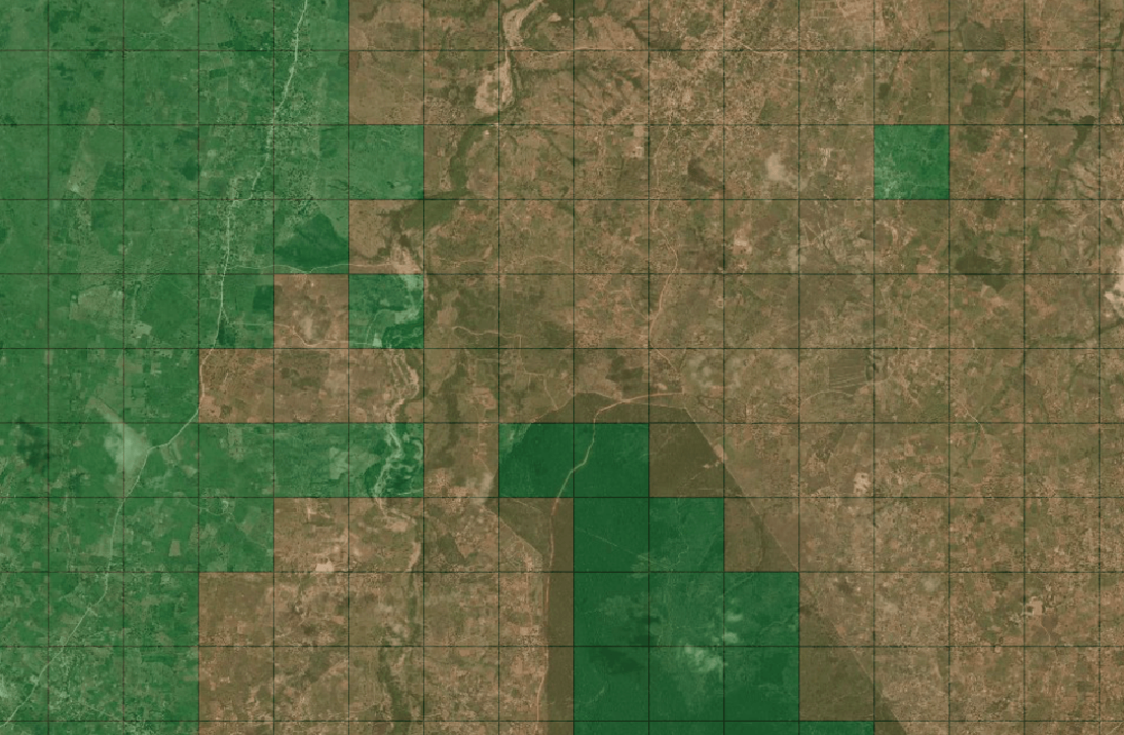 example classification image overlaid over satellite imagery