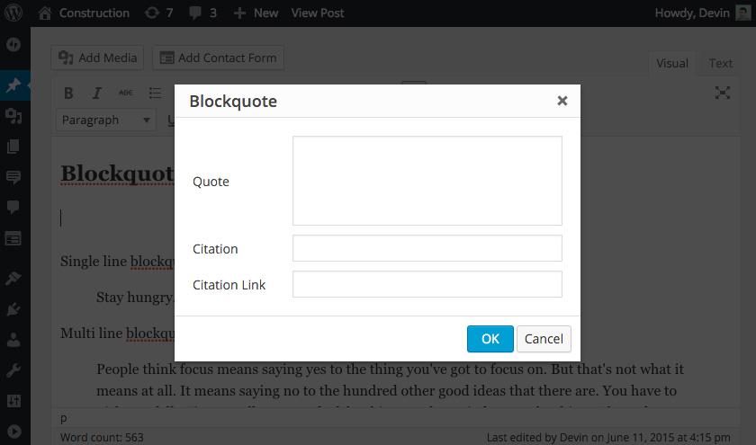 A screenshot of the Better Blockquotes pop-up window.