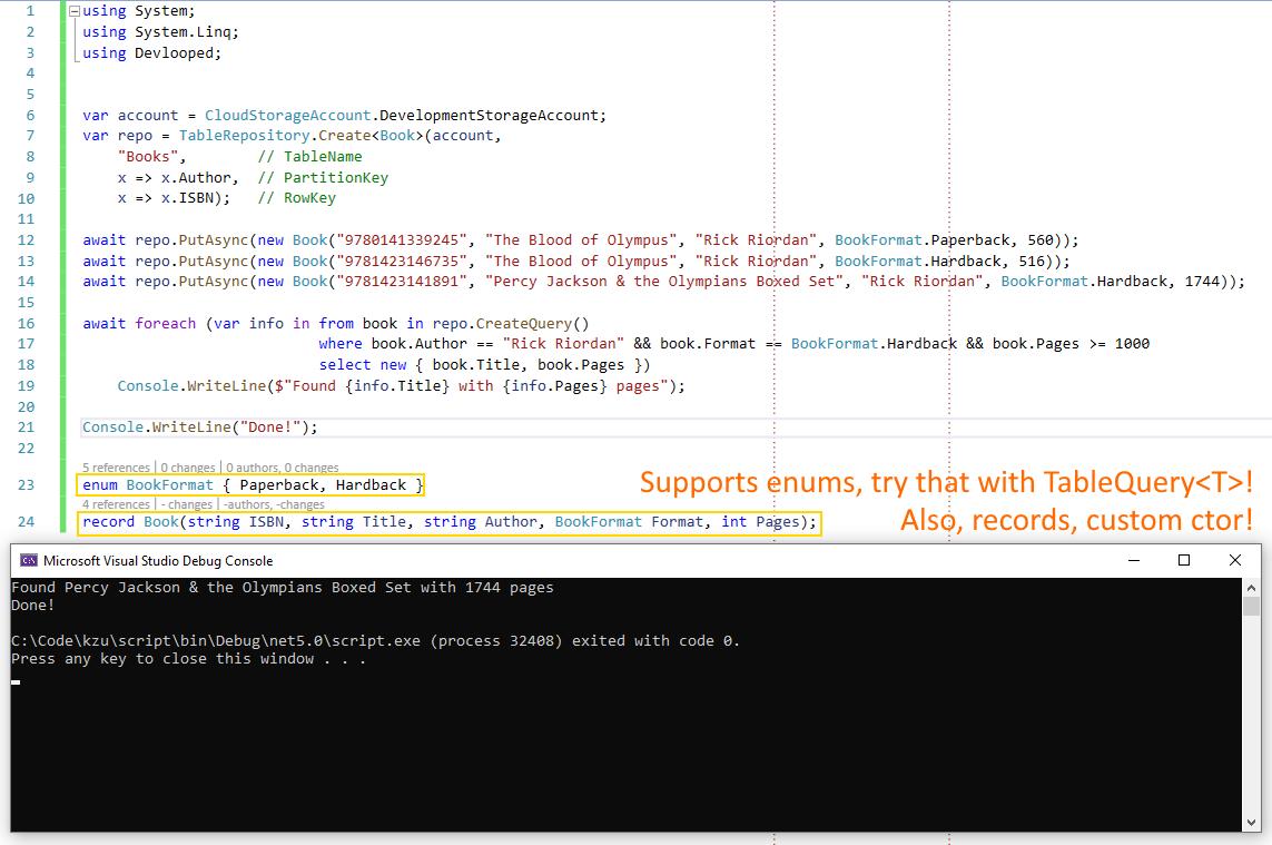 Screenshot of basic usage