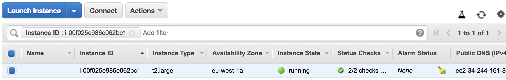 AWS Instance provisioned