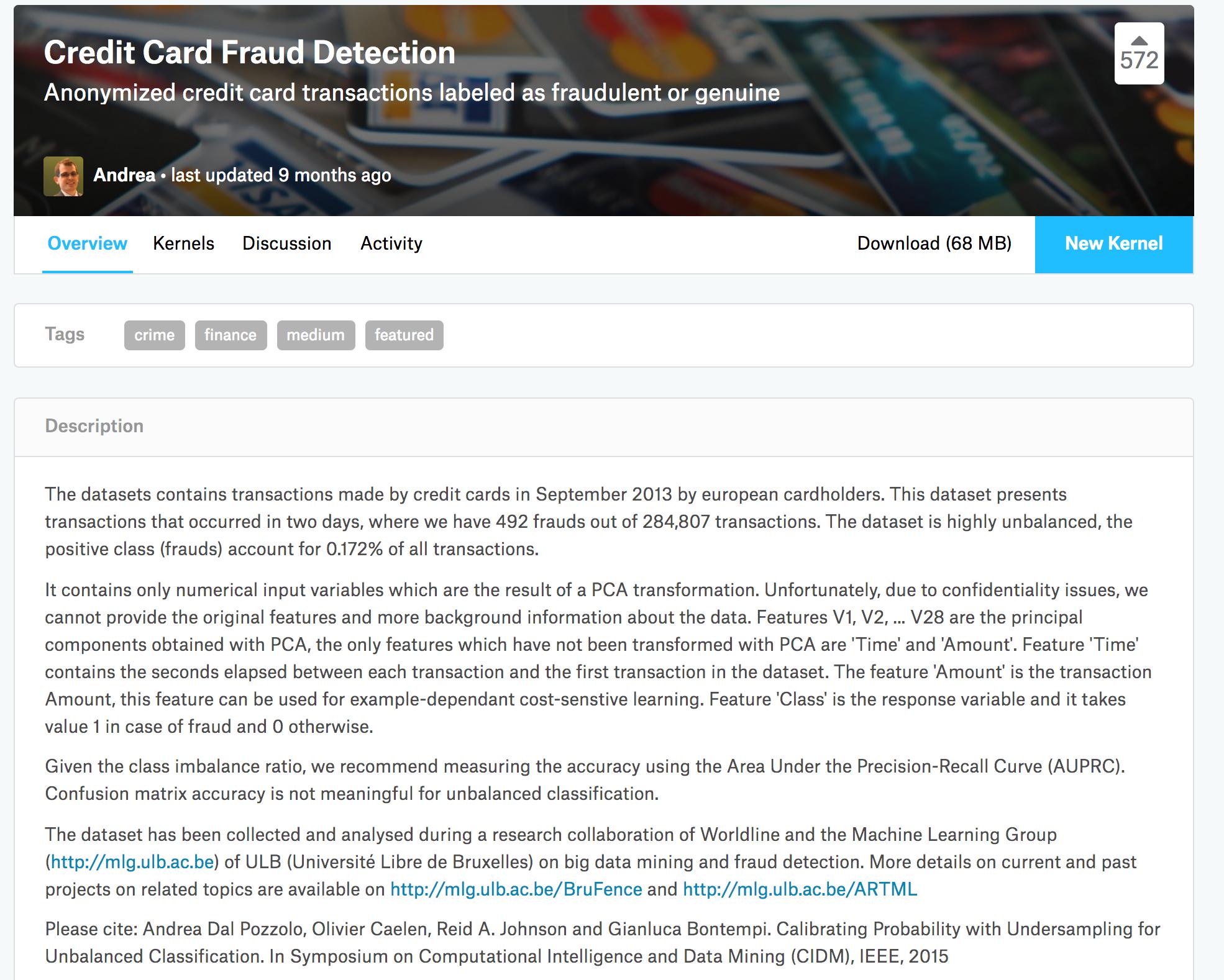 Kaggle Credit Card Fraud