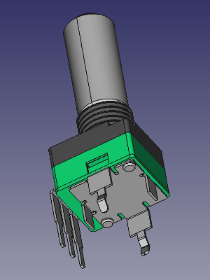 3D view of 9mm vertical potentiometer