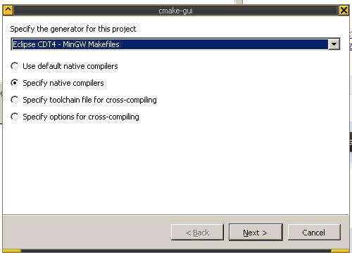 CMake Eclipse config 1