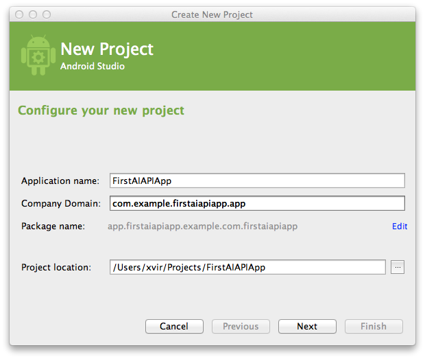 New project dialog
