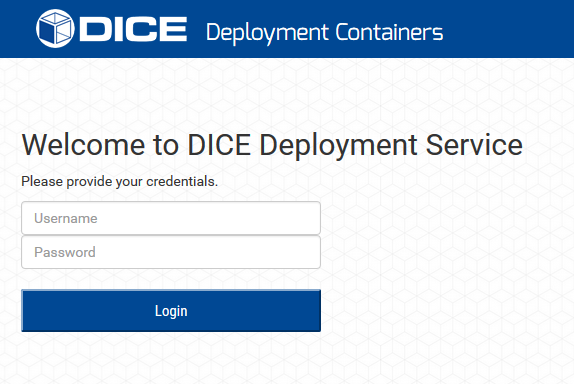 DICE deployment service GUI login prompt