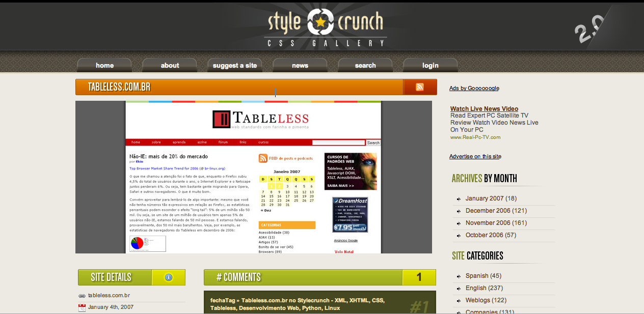 Tableless no Style Crunch