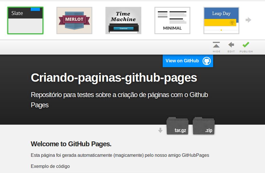 criando p ginas web para seus reposit rios com o github pages artigos sobre html javascript. Black Bedroom Furniture Sets. Home Design Ideas
