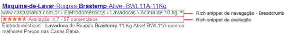 Exemplo direto na pesquisa do Google, utilizando dados estruturados.