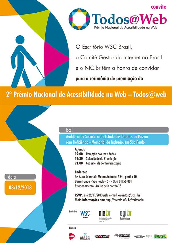 Convite eletrônico para o Prêmio Nacional de Acessibilidade na Web