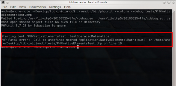 PHPUnit - Faltando método sum