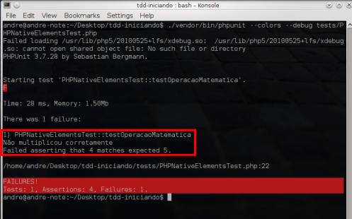 PHPUnit - Mensagem de erro de asserção