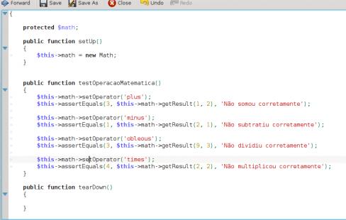 PHPUnit - Alterações na classe de teste