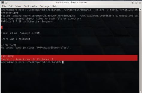 PHPUnit - Falta de testes