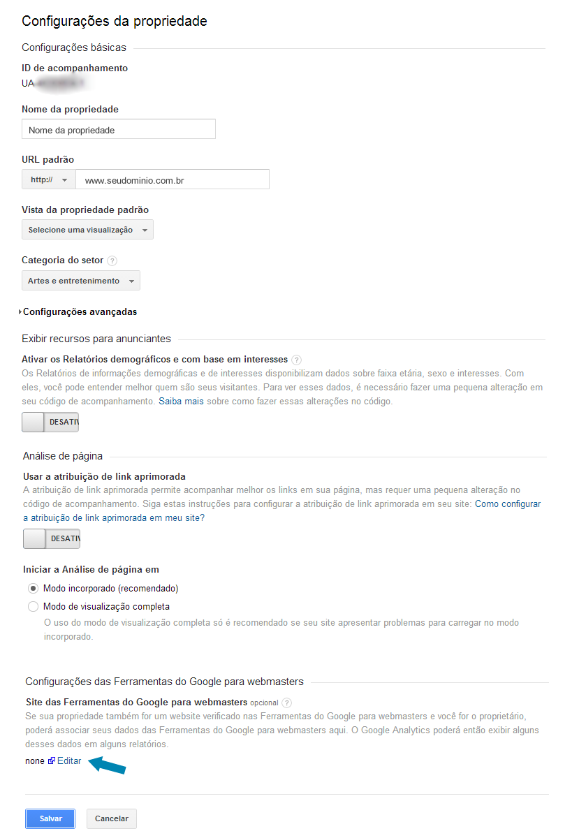 configurando o google analytics