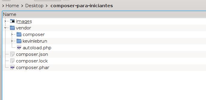 Estrutura de arquivos após a instalação via composer