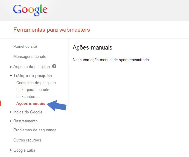 Google Webmaster Tools - Ações Manuais