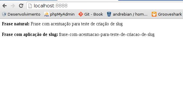 Slug rodando no navegador