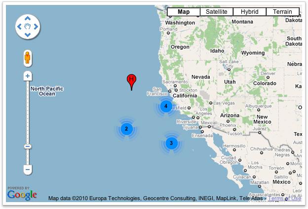 Exemplo de mapa simples com a utilização do MarkerClusterer