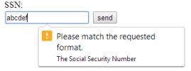 Imagem mostra erro devido à entrada de dados inválidos em um campo de formuláriop