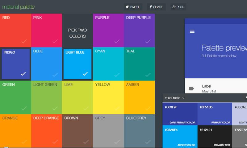 material palette - Paleta de Cores para Designers Web