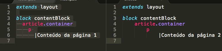 contentBlock foi o nome do bloco definido no arquivo layout.jade para ser sobrescrito.